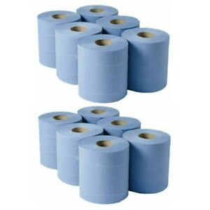 12 pk BLUE EMBOSSED CENTREFEED HOME WAREHOUSE OFFICE CLEANING PAPER WIPE ROLLS