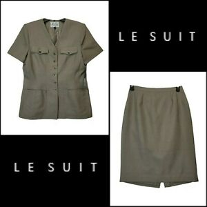 Le Suit Women Career Formal Blazer Suit & Skirt Size 12 Brown Nwt