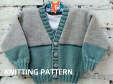 (759) Baby Cardigan Knitting Pattern, Baseball Design in DK yarn