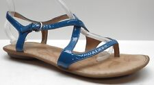 Born Blue Patent Leather Thong Ankle Strap Wedge Sandals 9B 9 MSRP $99