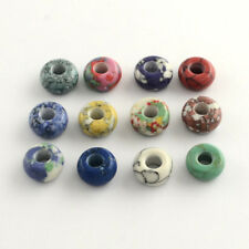 100pcs Natural Stone Gemstone Round Loose Beads 14mm Big Hole European Bracelets