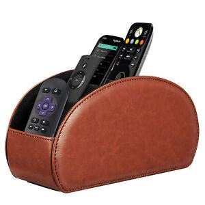 [5 Compartments] Remote Control Holder TV Remote Caddy Desktop Organizer - Brown