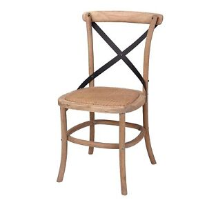 Cross Back Dining Chairs - Oak Timber Steel Back - Set of 2