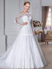 2017 New White /Ivory Lace Long Sleeve Wedding Dress Bridal Gown Custom Size