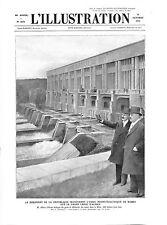 Président Albert Lebrun Usine Hydro-Electrique Kembs Canal d'Alsace GRAVURE 1932