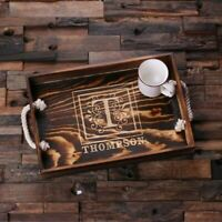 Personalized Rustic Wood Serving Tray w/ Rope Handles - Perfect House Party Gift