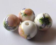 30pcs 10mm Round Porcelain/Ceramic Beads - White / Pale Peach Flowers
