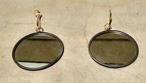 """Two Stonebriar Round Metal Mirrors With Nautical Rope Hanging Loops 13"""""""