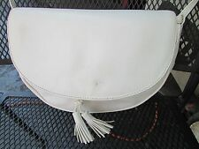 VINTAGE BOTTEGA VENETA CREEL BAG crossbody CLUTCH purse white TaSSeLs