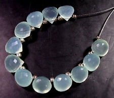12 BEAUTIFUL AQUA BLUE CHALCEDONY FACETED ONION BRIOLETTE BEADS 6-6.5 mm  C12