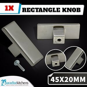 1x 45x20 satin stainless look rectangular knob cabinet handles kitchen door