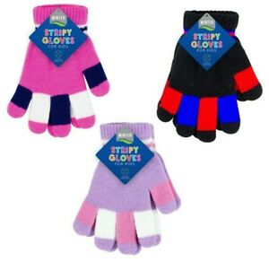 Kids Winter Gloves Boys Girls Soft Stretch Material Striped Magic Warm Unisex
