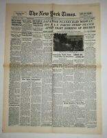 N864 La Une Du Journal The New York times 5 june 1942 Japanese planes raid