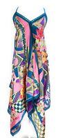 Ladies V Neck Halter Handkerchief Hem Embellished Printed Maxi Dress NWT S-M-L.