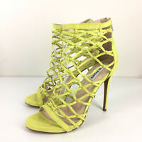 Steve Madden Women's 10 Ursula Dress Sandal Yellow High Heel Cage