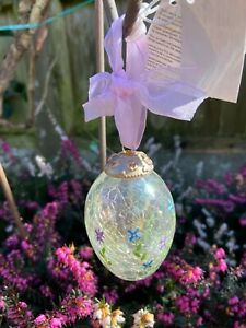 Hand crafted Glass Egg Hand painted beautiful hanging decoration Crackle Glass