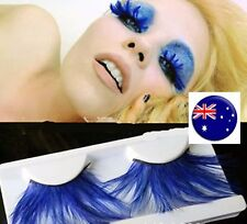 Women Navy Blue long Feather Exaggerated Party Fake False Eyelashes Eye lashes