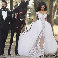 Arabic Lace Wedding Dress Detachable Skirt Bridal Gown Custom Size 2 4 6 8 10 12