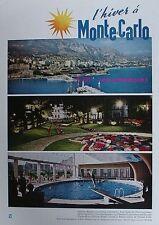 PUBLICITE L' HIVER A MONTE CARLO HOTEL PISCINE 1962 AD