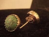 Tibten Turquoise 1.75 TCW Sterling Silver Bezel Stud Earrings
