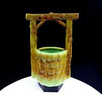 """RUMRILL POTTERY BROWN AND GREEN WISHING WELL 9 1/4"""" PLANTER"""