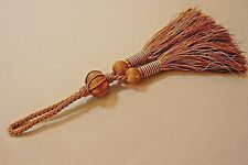 """Silky Double Tassel- Gold/Ecru Tones-About 1012"""" Overall-Tassels About 5"""""""