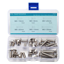 M6 Hex Socket Flat Head Cap Screws Assortment kit 6 Size QTY 36 Stainless Steel