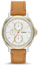 Fossil ES3523 Chelsey Silver Dial Brown Leather Strap Women's Watch