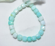 Bi-Color Peruvian Blue Opal 9.5MM Faceted Box Shape Gemstone Beads 8 Inch Strand