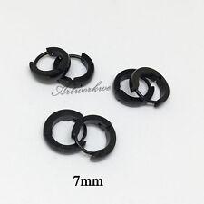 3pairs men's Gold/silver/black Hip hop Stainless Steel Hoop Earrings 7mm Jewelry