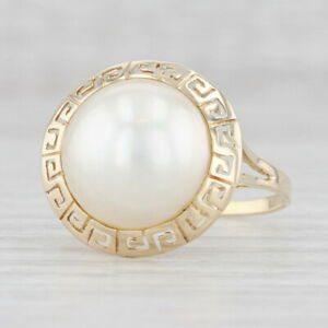 Mabe Pearl Ring 14k Yellow Gold Size 10 Solitaire Tribal Design