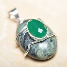 "Handmade Kambaba Jasper Gemstone 925 Sterling Silver Pendant 1.75"" #P14420"
