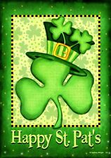 Happy Saint Patrick's Day Clover Hat Toland Sm Flag Double Sided