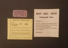 Bailey Bros. Circus ~ 3 Items: Ticket, Lithograph Pass & Bill Posting Contract