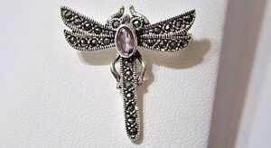 STERLING SILVER DRAGON FLY PIN WITH MARCASITES DETAILED INSECT BUG FAUX AMETHYST