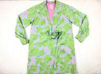 Vintage 60's Lilly Pulitzer Floral Lion Print Pink Green Belted Dress Size 12
