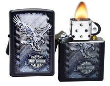 Zippo 28485 Harley Davidson Iron Eagle Black Matte Windproof Pocket Lighter NEW