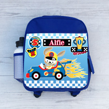Personalised Cars Race Track Racing, Boys Kids Backpack, Childrens School Bag