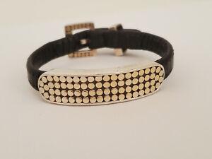 Vintage Anna Beck Mirage Leather 18K Over Sterling Silver Dot Bali Bar Bracelet