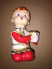 Vintage  Ceramic Christmas Choir Boy Red Hair Holding Candle Kneeling Figure 7""