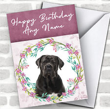 Cane Corso Dog Pink Floral Animal Personalized Birthday Card