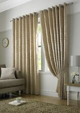 Beige Latte Woven Jacquard Trailing Leaf Ring Top Curtains *9 Sizes* 66x54