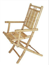 Bamboo Folding Arm Chairs Patio Deck Tiki Style Set of 2