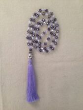 Knotted  White Purple Gllass Crystal Beads Silver Buddha Charm Tassel Necklace