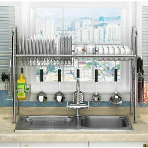 Kitchen Over The Sink Dish Drainer Plate Bowl Cup Drying Rack Stainless Steel UK