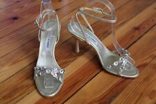 Manolo Blahnik 37.5 7 Strappy Leather Jewelled Heels Ankle Strap