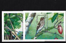 GRENADA GRENADINES MS1275, 1990 BIRDS MINIATURE SHEETS (2) MNH