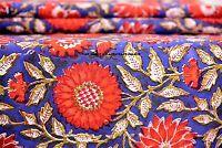 Hand Print Indian Fabric Block Cotton Floral Sanganeri Natural Handmade 2.5 Yard
