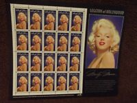 Marilyn Monroe Pane of Mint 20 USPS Stamps, Never Hinged, Never Used