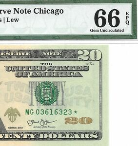 2013 $20 CHICAGO * STAR * ⭐️ FRN, PMG GEM UNCIRCULATED 66 EPQ BANKNOTE